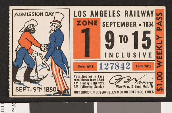 Los Angeles Railway weekly pass, 1934-09-09