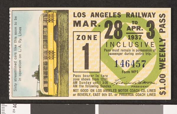 Los Angeles Railway weekly pass, 1937-03-28