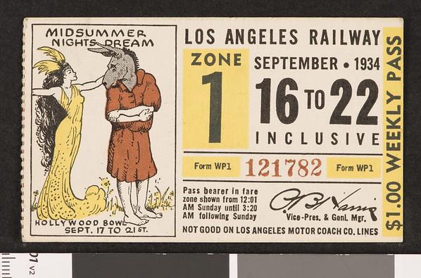 Los Angeles Railway weekly pass, 1934-09-16