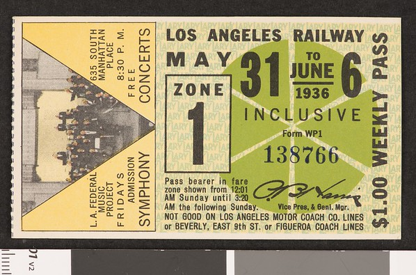 Los Angeles Railway weekly pass, 1936-05-31
