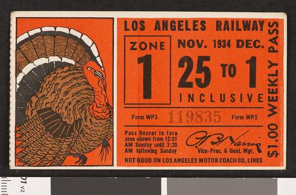 Los Angeles Railway weekly pass, 1934-11-25