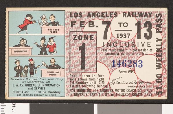Los Angeles Railway weekly pass, 1937-02-07