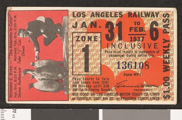 Los Angeles Railway weekly pass, 1937-01-31
