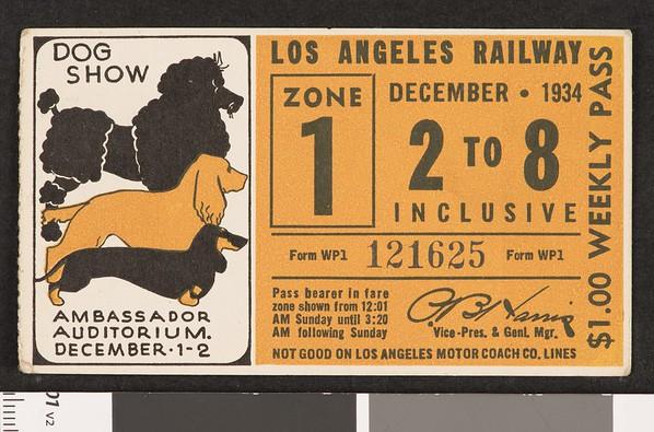 Los Angeles Railway weekly pass, 1934-12-02