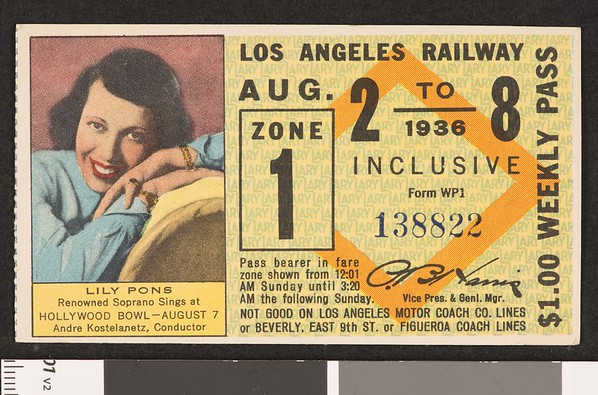 Los Angeles Railway weekly pass, 1936-08-02