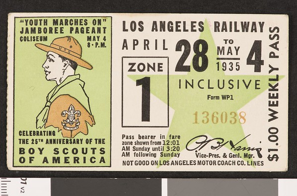 Los Angeles Railway weekly pass, 1935-04-28