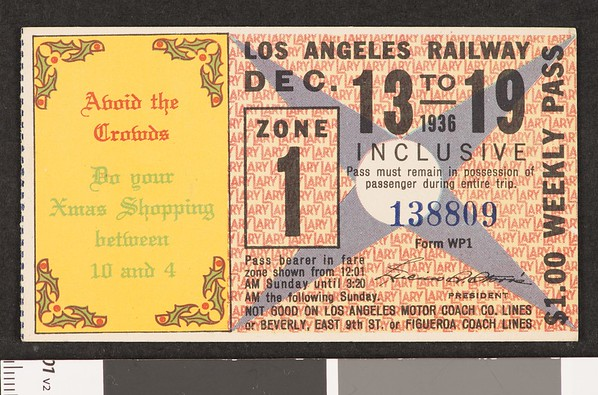 Los Angeles Railway weekly pass, 1936-12-13