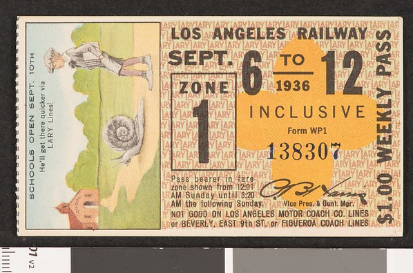Los Angeles Railway weekly pass, 1936-09-06