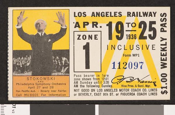 Los Angeles Railway weekly pass, 1936-04-19