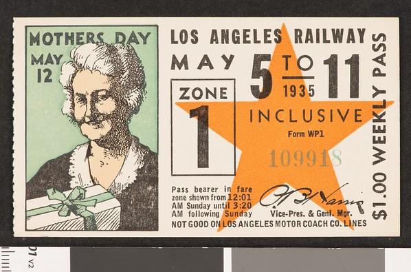 Los Angeles Railway weekly pass, 1935-05-05