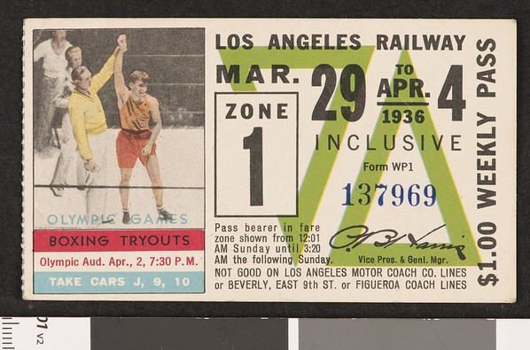 Los Angeles Railway weekly pass, 1936-03-29