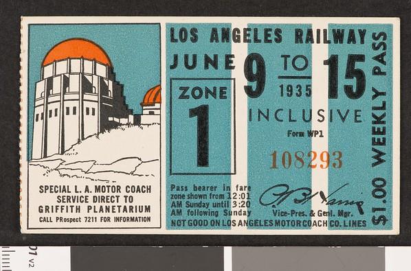 Los Angeles Railway weekly pass, 1935-06-09