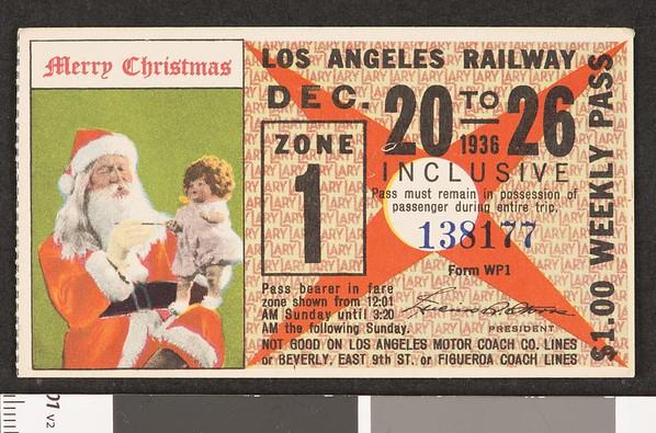 Los Angeles Railway weekly pass, 1936-12-20