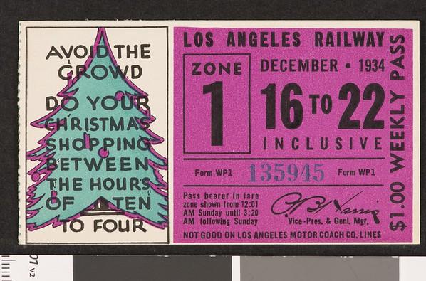 Los Angeles Railway weekly pass, 1934-12-16