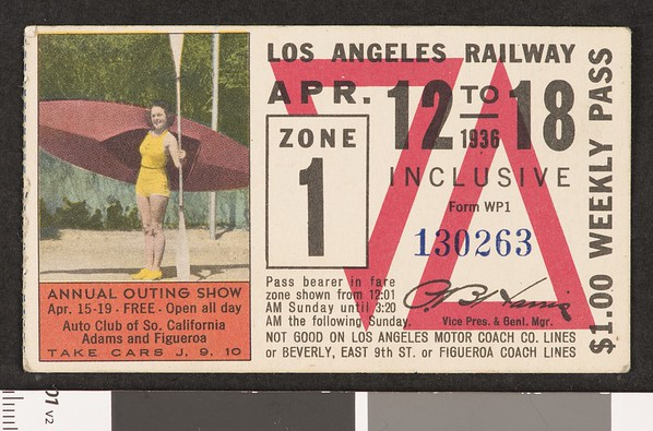 Los Angeles Railway weekly pass, 1936-04-12