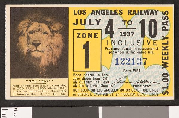 Los Angeles Railway weekly pass, 1937-07-04