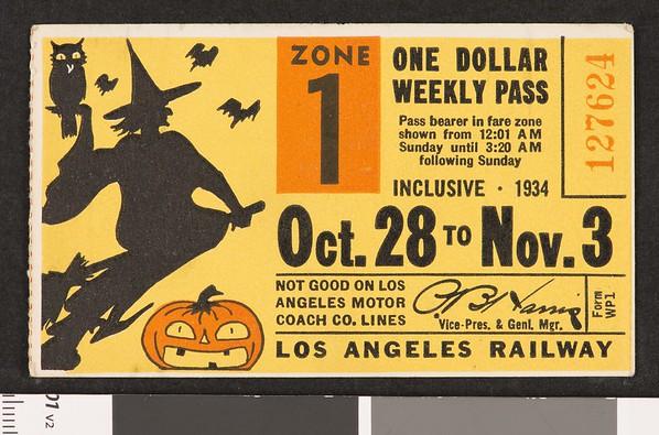 Los Angeles Railway weekly pass, 1934-10-28