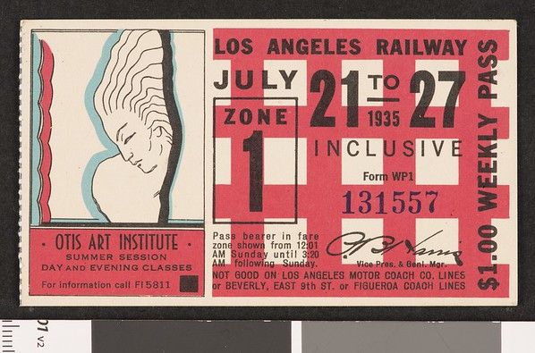 Los Angeles Railway weekly pass, 1935-07-21
