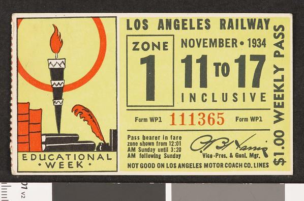 Los Angeles Railway weekly pass, 1934-11-11