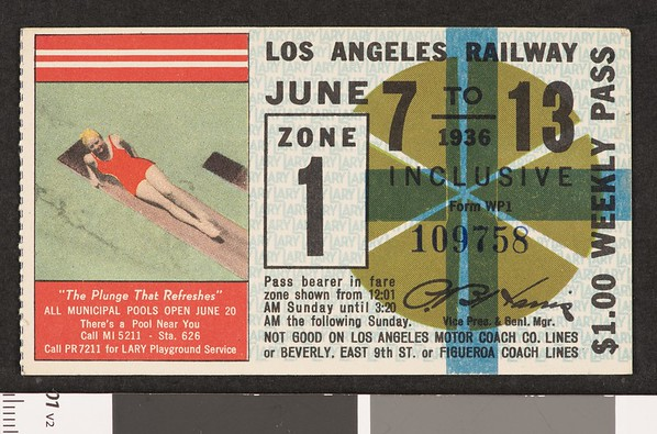 Los Angeles Railway weekly pass, 1936-06-07