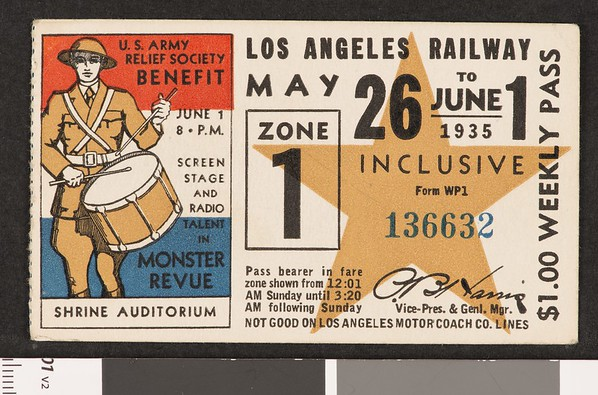Los Angeles Railway weekly pass, 1935-05-26