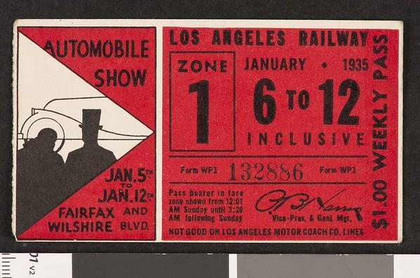 Los Angeles Railway weekly pass, 1935-01-06