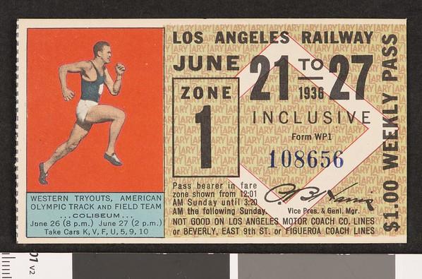 Los Angeles Railway weekly pass, 1936-06-21