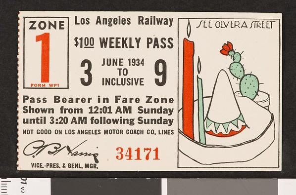 Los Angeles Railway weekly pass, 1934-06-03