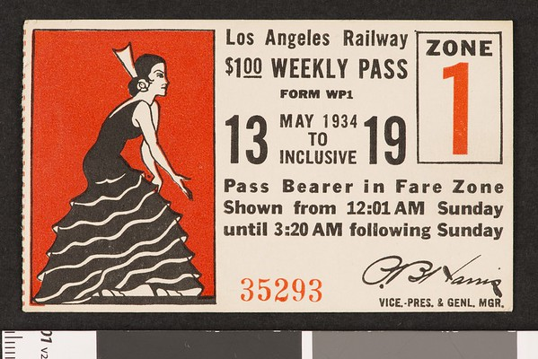Los Angeles Railway weekly pass, 1934-05-13