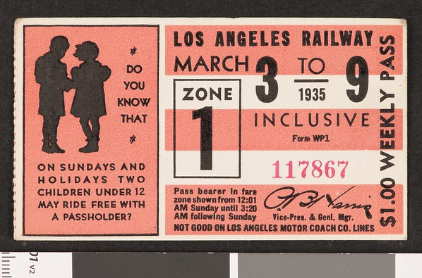 Los Angeles Railway weekly pass, 1935-03-03