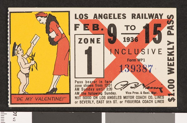 Los Angeles Railway weekly pass, 1936-02-09