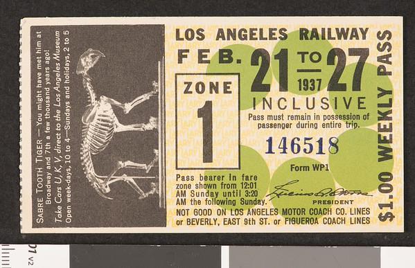Los Angeles Railway weekly pass, 1937-02-21