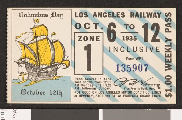 Los Angeles Railway weekly pass, 1935-10-06