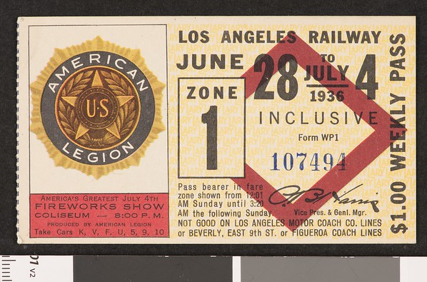 Los Angeles Railway weekly pass, 1936-06-28