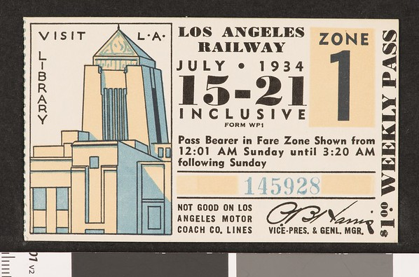 Los Angeles Railway weekly pass, 1934-07-15