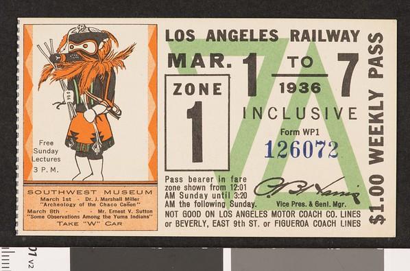 Los Angeles Railway weekly pass, 1936-03-01