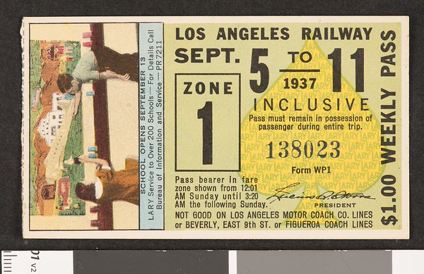 Los Angeles Railway weekly pass, 1937-09-05