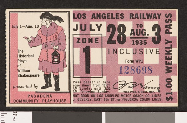 Los Angeles Railway weekly pass, 1935-07-28