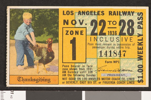 Los Angeles Railway weekly pass, 1936-11-22