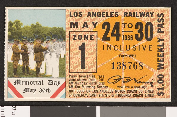 Los Angeles Railway weekly pass, 1936-05-24