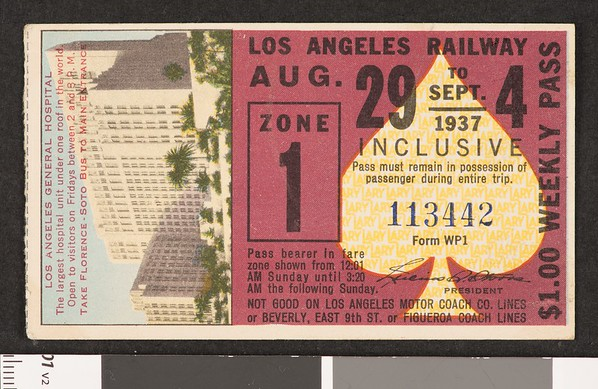 Los Angeles Railway weekly pass, 1937-08-29