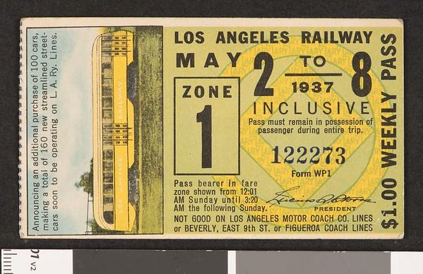 Los Angeles Railway weekly pass, 1937-05-02