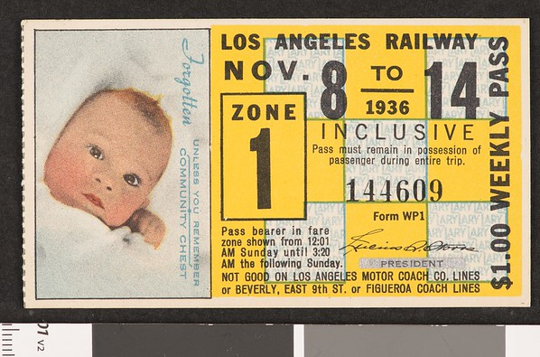 Los Angeles Railway weekly pass, 1936-11-08