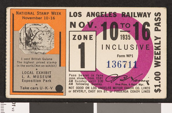 Los Angeles Railway weekly pass, 1935-11-10