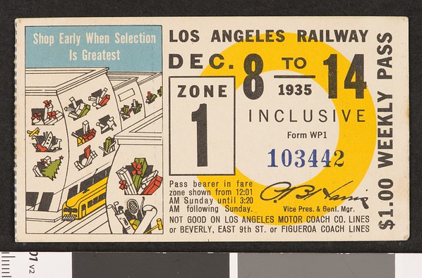 Los Angeles Railway weekly pass, 1935-12-08