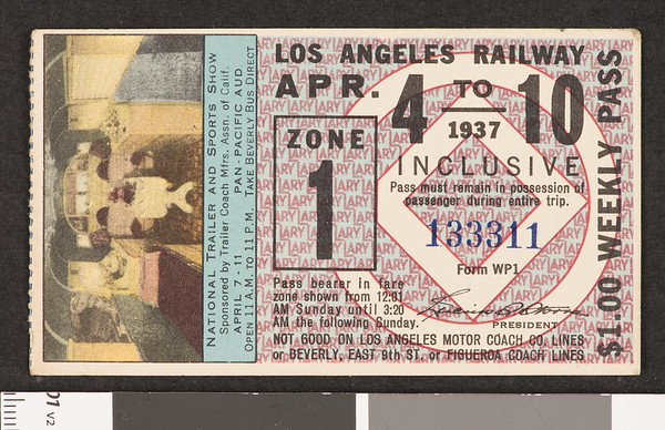 Los Angeles Railway weekly pass, 1937-04-04