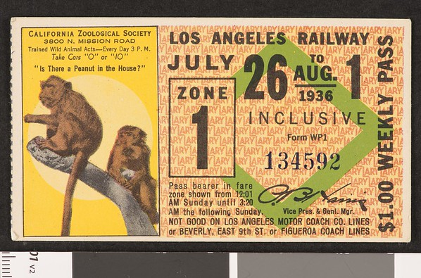 Los Angeles Railway weekly pass, 1936-07-26