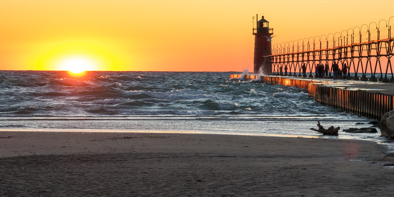 South Haven Light. Don't look at the sun.