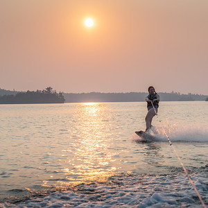 Wakeboarding at Sunset