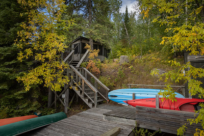 Cottage and Dock in Fall